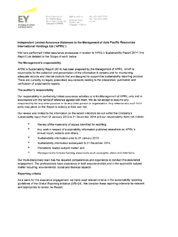Sustainability Report 7 1 Ernst Young Assurance Letter
