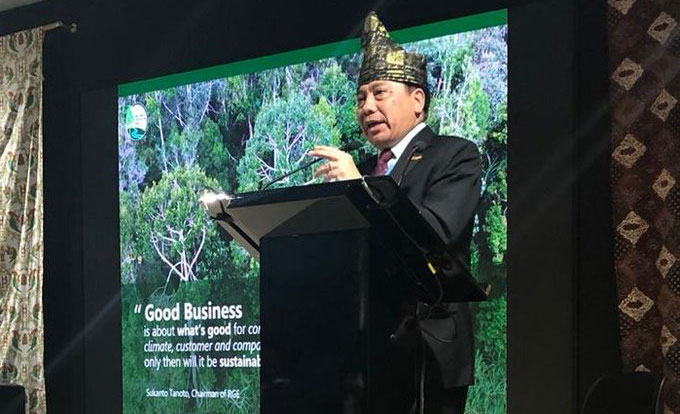 President Director of PT. RAPP, Sihol Aritonang, spoke at the Indonesia Pavilion at COP 25 in Madrid, Spain, in December 2019.