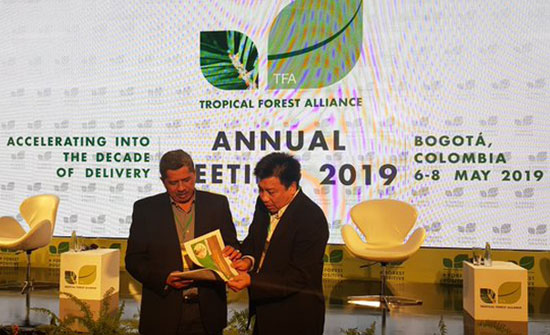President Director of PT. RAPP Sihol Aritonang spoke at the 2019 Annual Meeting of the Tropical Forest Alliance in Colombia in May 2019, and explained about scaling up the Green Siak District initiative.